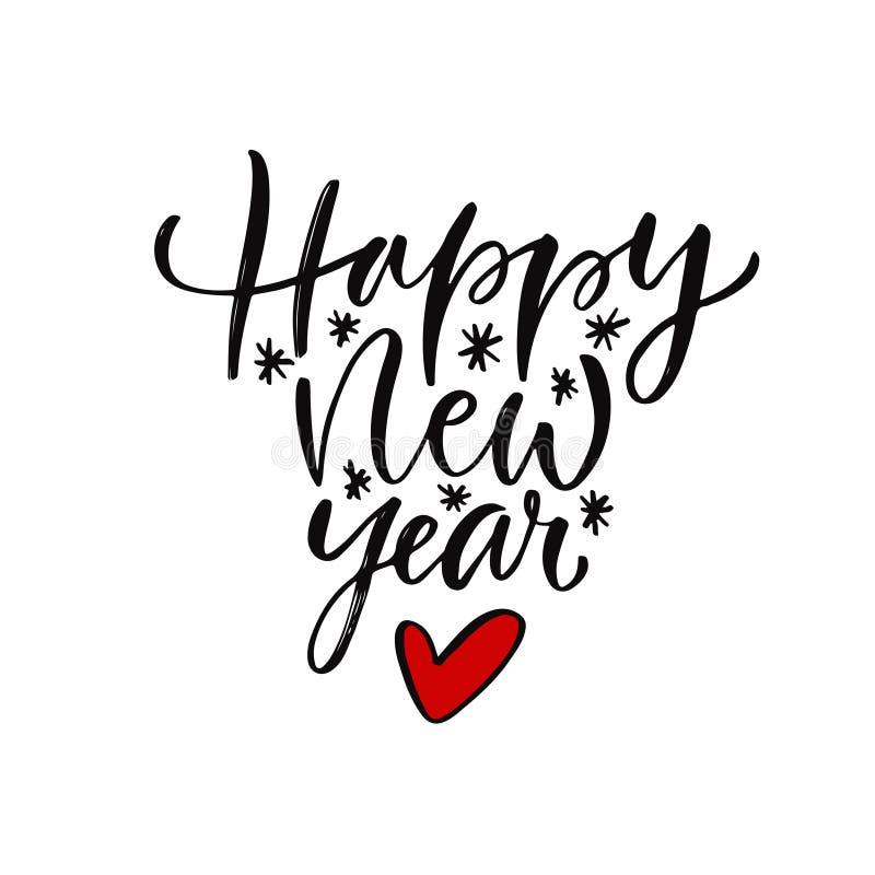 Cartão escrito à mão do ano novo Molde imprimível da tipografia Ilustração caligráfica do vetor Caligrafia do ano novo feliz ilustração royalty free