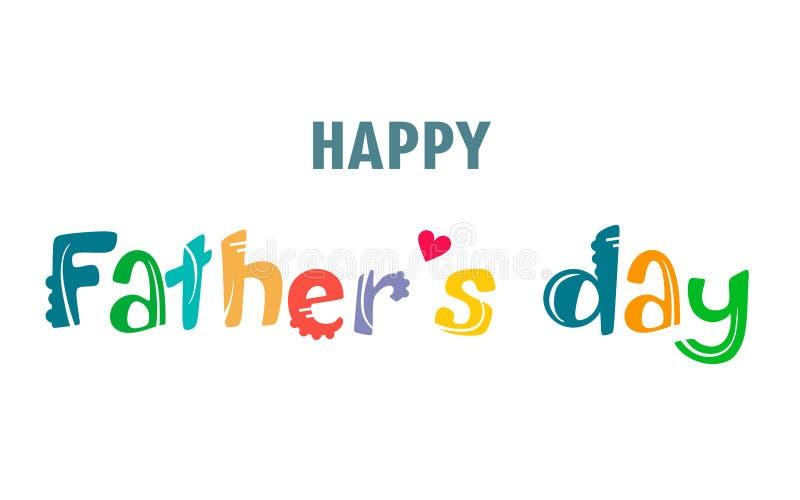 Cartão escrito à mão feliz do dia de pai Desenhos animados do vetor e texto escrito à mão brilhante no fundo branco ilustração royalty free
