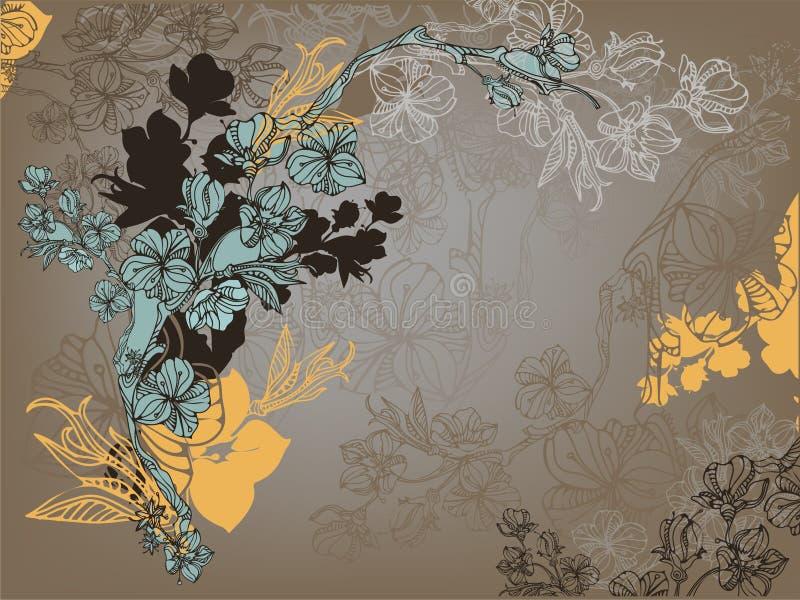 Cartão escuro com flores ilustração royalty free