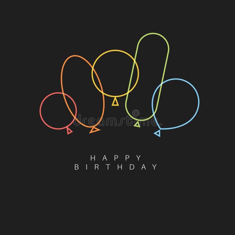Cartão escuro da ilustração do vetor do feliz aniversario com balões ilustração stock