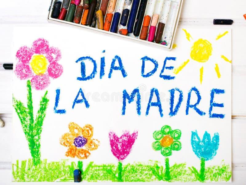 Cartão espanhol do dia de mães ilustração do vetor