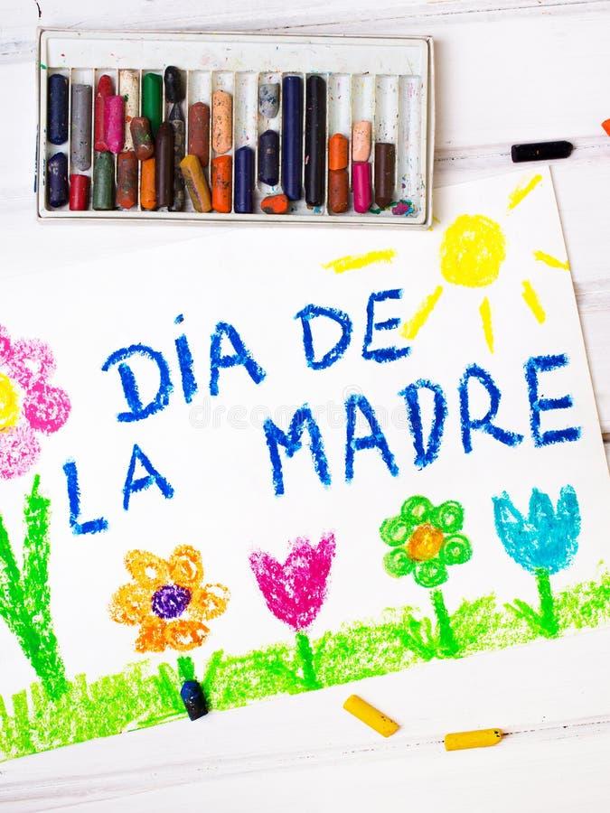 Cartão espanhol do dia de mães com ` do dia de mães do ` das palavras ilustração royalty free