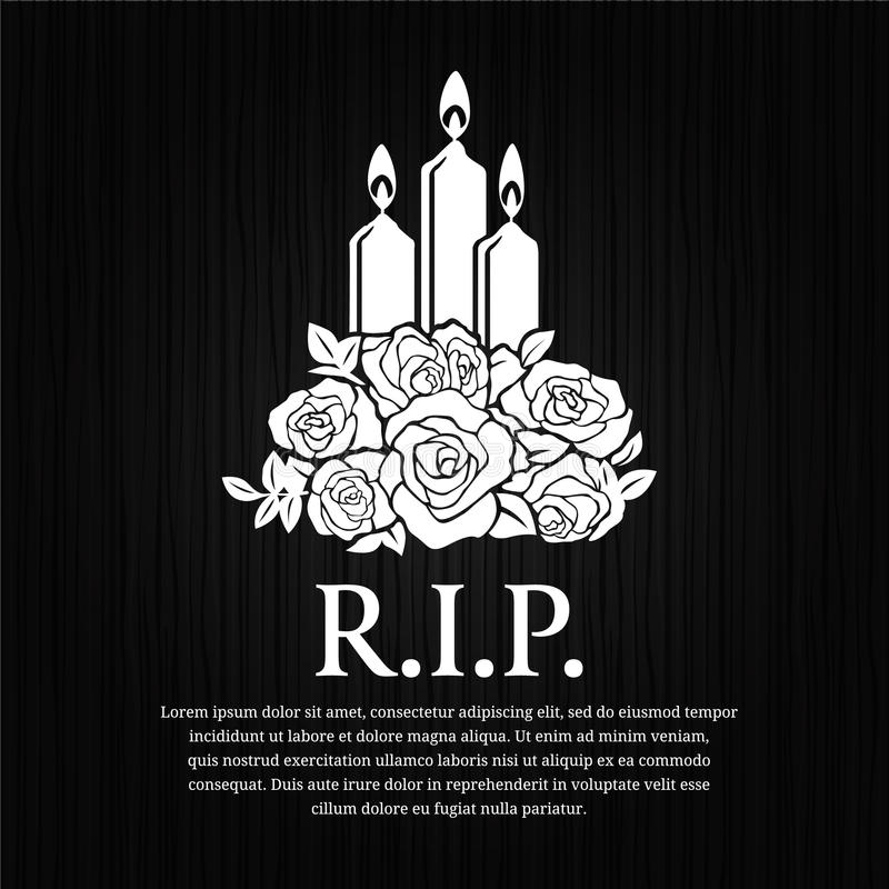 Cartão fúnebre - candle o burning e o sinal cor-de-rosa no projeto de madeira preto do vetor do fundo ilustração stock
