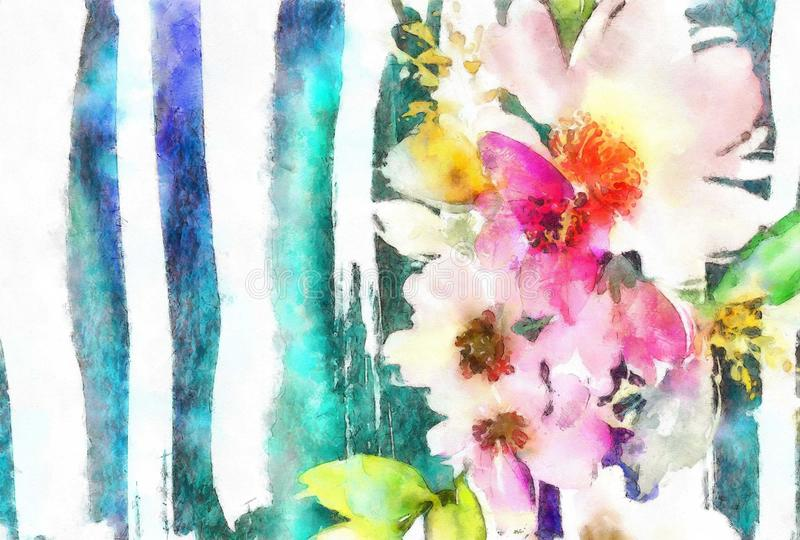 Cartão feito a mão da mãe do aniversário do casamento da pintura da aquarela com cores pastel das flores ilustração stock