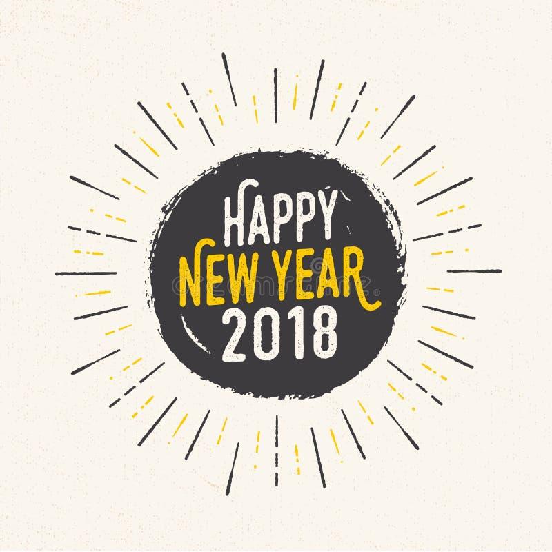 Cartão feito a mão do estilo - ano novo feliz 2018 ilustração stock