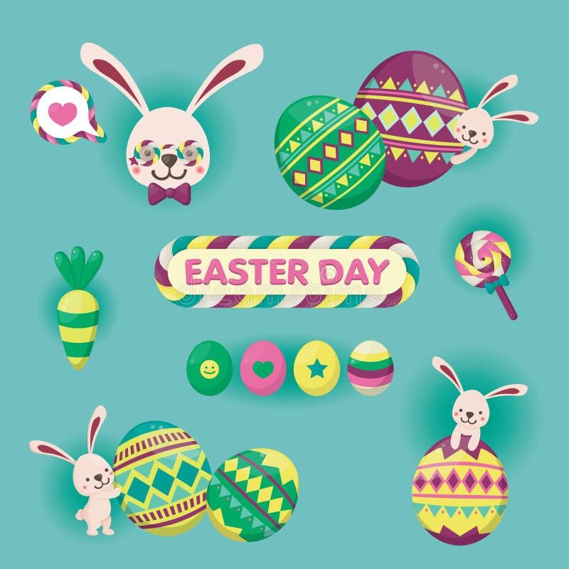 Cartão feliz colorido da Páscoa com coelho, ovo da páscoa e materiais bonitos Ilustração do vetor ilustração royalty free