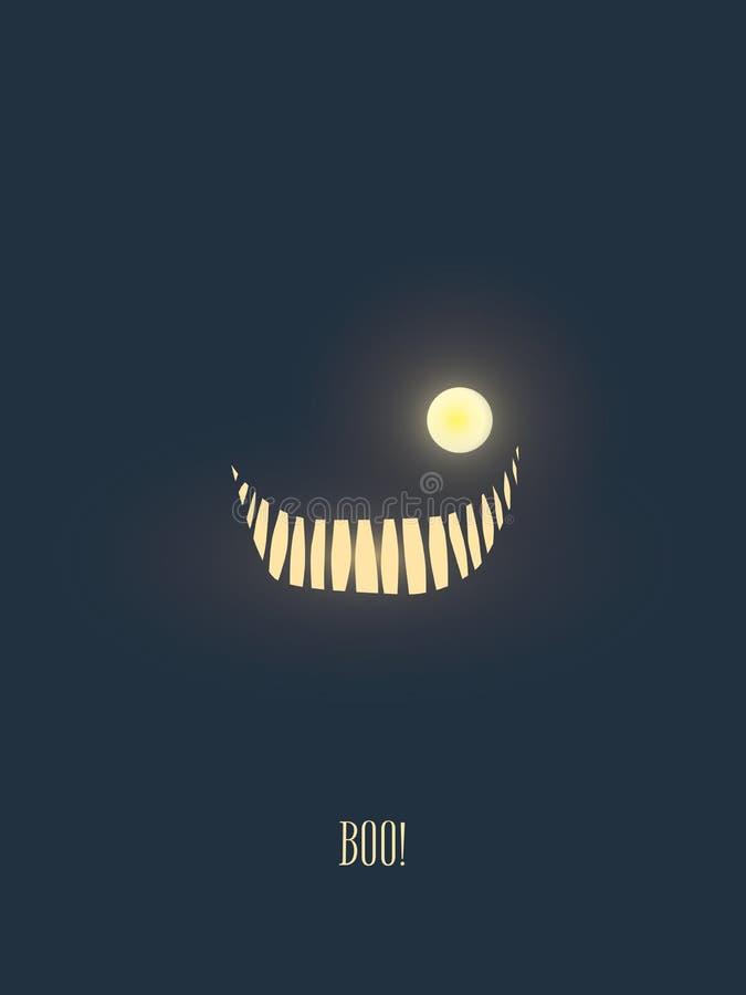 Cartão feliz com o sorriso do monstro que incandesce na noite escura, boca da ilustração do vetor do Dia das Bruxas completamente ilustração do vetor