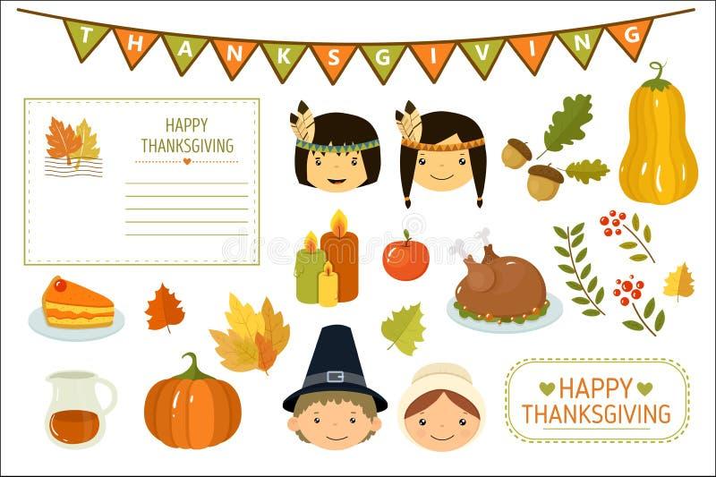 Cartão feliz da ação de graças, elementos da celebração da ação de graças, crianças indianas americanas, abóbora, folhas de outon ilustração royalty free