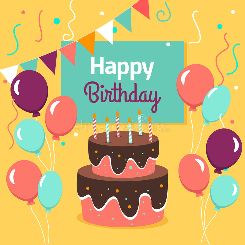 Cartão feliz da festa de anos com bolo e ballons Ilustração do vetor ilustração royalty free