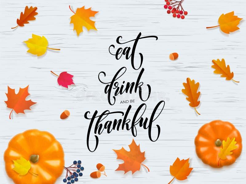 Cartão feliz da folha da caligrafia da abóbora do vetor da queda do outono do dia de ação de graças