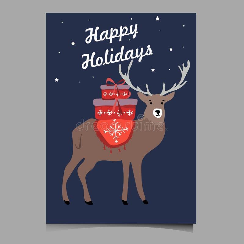 Cartão feliz da ilustração do vetor dos cervos do feriado bonito fotografia de stock royalty free