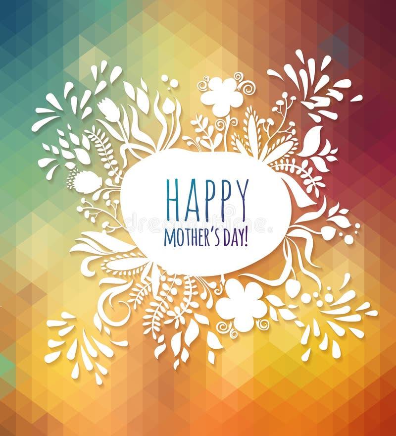 Cartão feliz da mola do dia de mãe do cumprimento Fundo floral abstrato ilustração stock
