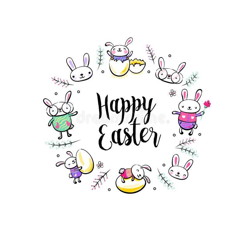 Cartão feliz da Páscoa, cartaz com cena de sorriso bonito do coelho da surpresa, caráteres quebrados do ovo, do coelho e do pinta ilustração do vetor