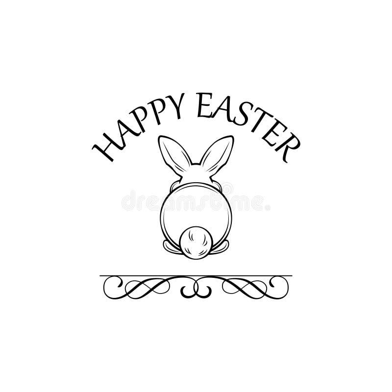 Cartão feliz da Páscoa com o coelhinho da Páscoa bonito da vista traseira Vecctor ilustração royalty free