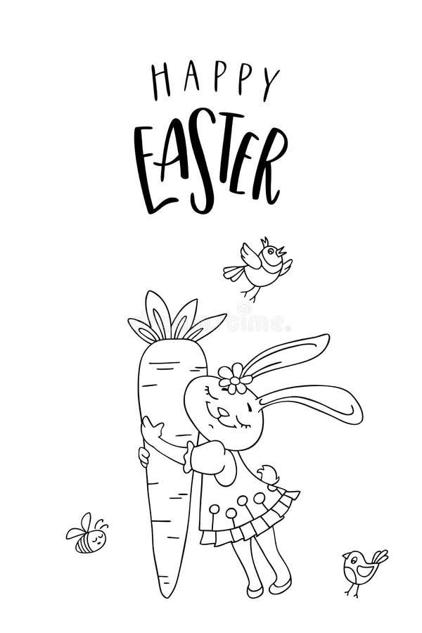 Cartão feliz da Páscoa Menina bonito do coelho com cenoura, pássaro e texto escrito à mão ilustração stock