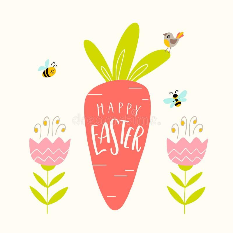 Cartão feliz da Páscoa O pássaro tirado mão senta-se em uma cenoura, abelha ilustração royalty free