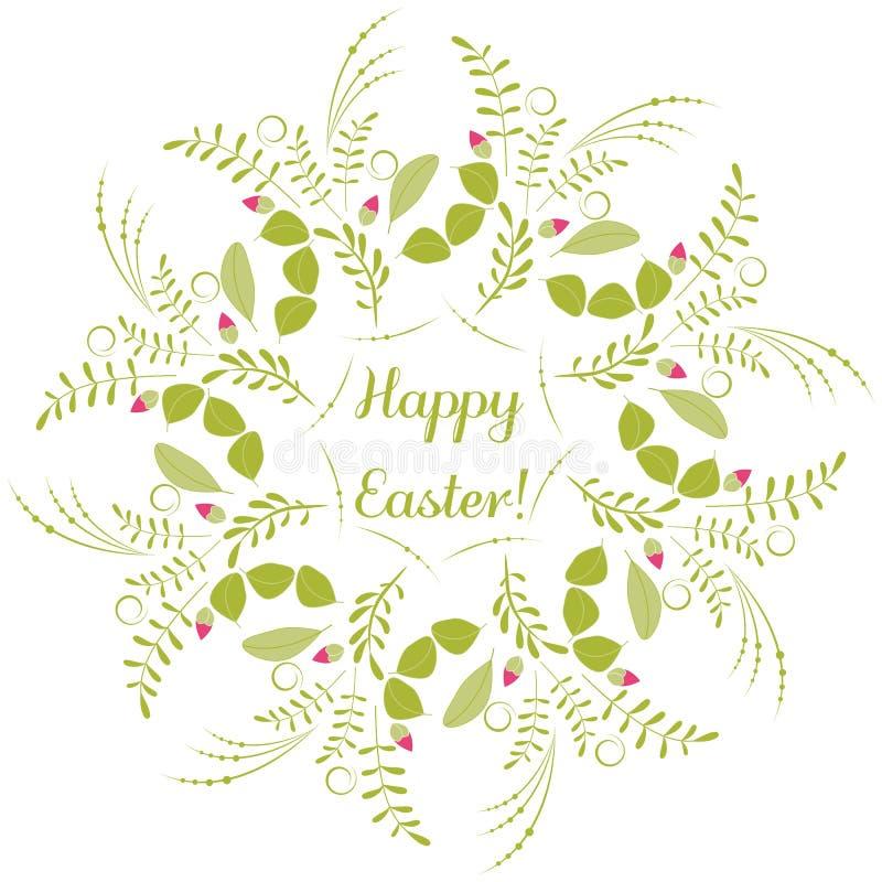 Cartão feliz da Páscoa Vector o desenho, as flores, os botões e as folhas ilustração stock