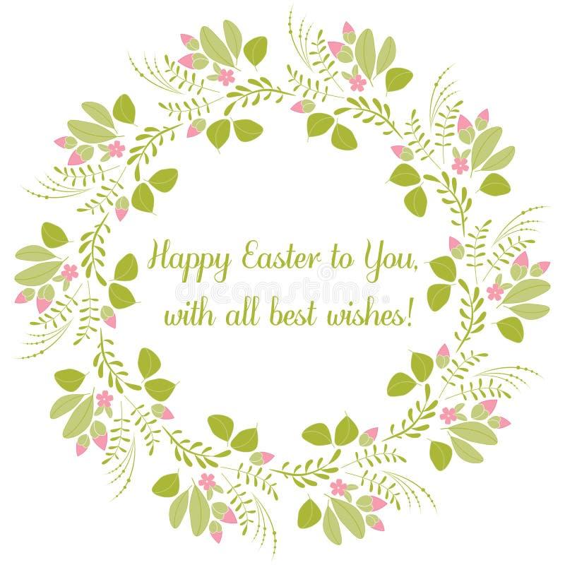 Cartão feliz da Páscoa Vector o desenho, as flores, os botões e as folhas Páscoa feliz do texto a você ilustração stock