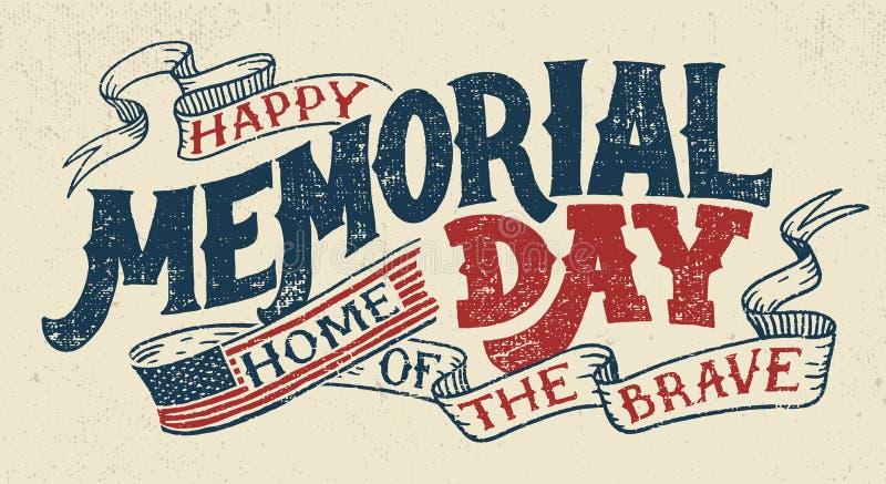 Cartão feliz da rotulação da mão de Memorial Day ilustração royalty free