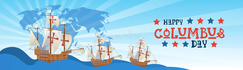 Cartão feliz de Columbus Day National Usa Holiday com o navio no oceano ilustração do vetor