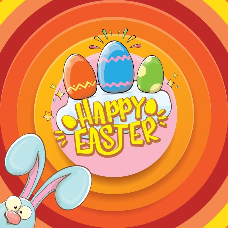 Cartão feliz de easter com coelho, texto caligráfico, nuvens, arco-íris e ovos da páscoa da cor crianças de easter do vetor ilustração royalty free