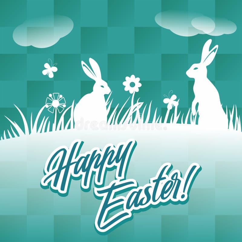 Cartão feliz de easter com ilustração do vetor dos coelhos imagens de stock