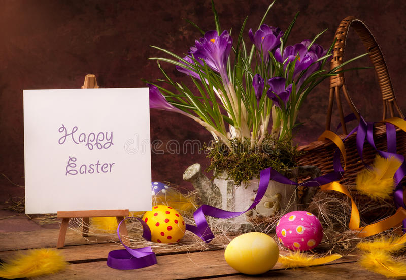 Cartão feliz de Easter do vintage imagens de stock