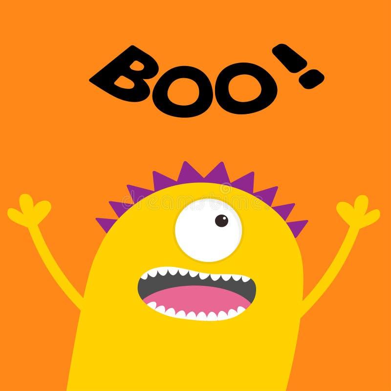 Cartão feliz de Halloween Boo Text Silhueta amarela assustador gritando da cabeça do monstro Um olho, dentes, língua, mãos Desenh ilustração do vetor