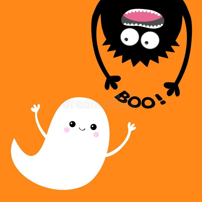 Cartão feliz de Halloween Espírito do fantasma do voo Silhueta principal do monstro Boo Eyes, mãos Suspensão de cabeça para baixo ilustração royalty free