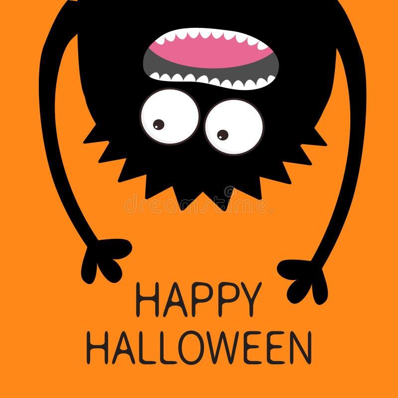Cartão feliz de Halloween Silhueta gritando da cabeça do monstro Dois olhos, dentes, língua, mãos Suspensão de cabeça para baixo  ilustração do vetor