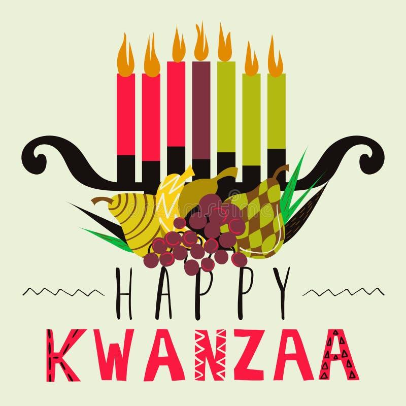 Cartão feliz de Kwanzaa, fundo ilustração do vetor