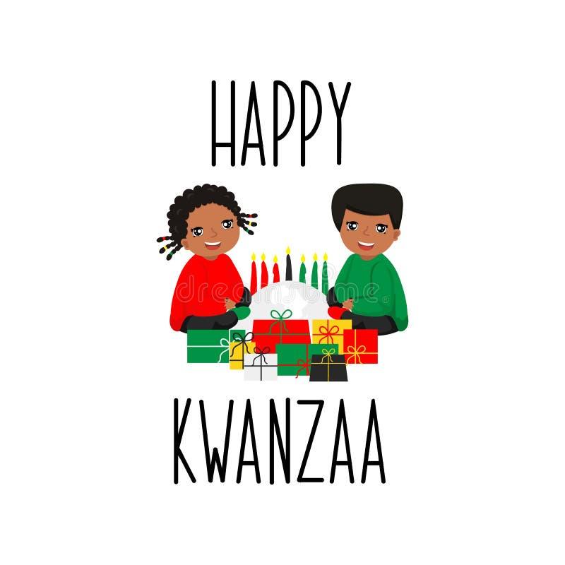 Cartão feliz de Kwanzaa lettering Ilustração da caligrafia Caçoa o logotipo ilustração royalty free