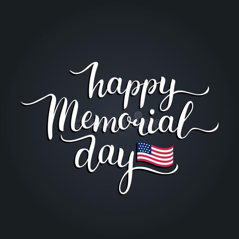 Cartão feliz de Memorial Day do vetor Ilustração americana nacional do feriado com bandeira dos EUA Cartaz festivo com rotulação  ilustração do vetor