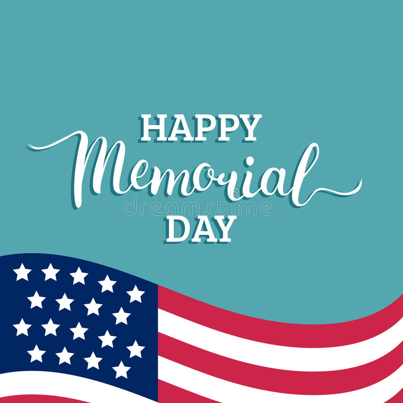 Cartão feliz de Memorial Day do vetor Ilustração americana nacional do feriado com bandeira dos EUA Cartaz festivo com rotulação  ilustração stock