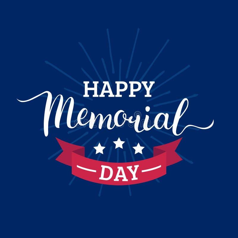 Cartão feliz de Memorial Day do vetor Ilustração americana nacional do feriado com raios, estrelas Cartaz festivo com rotulação d ilustração stock