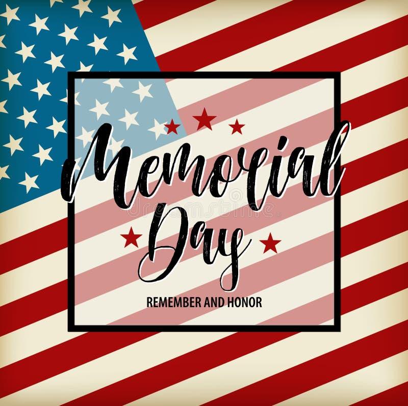 Cartão feliz de Memorial Day do vetor Ilustração americana nacional do feriado com bandeira dos EUA Cartaz festivo com rotulação  ilustração royalty free