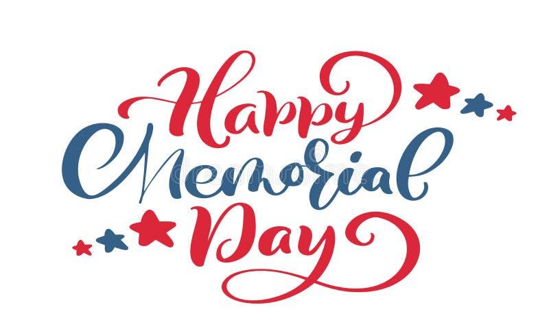 Cartão feliz de Memorial Day do vetor Texto da rotulação da mão da caligrafia Ilustração americana nacional do feriado Cartaz ou  ilustração royalty free