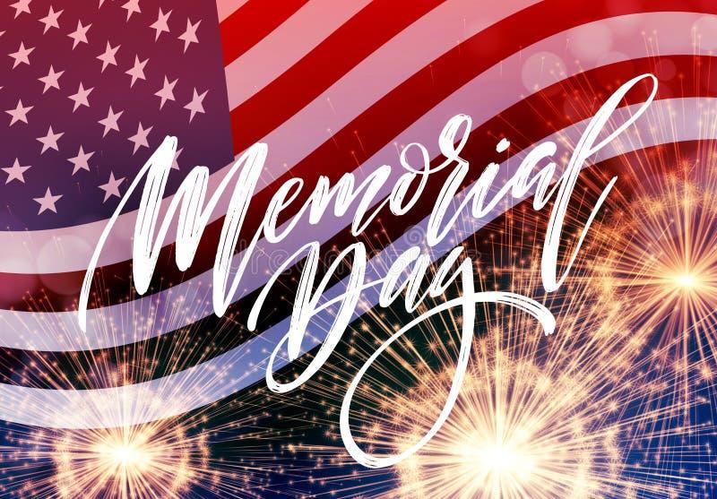 Cartão feliz de Memorial Day Feriado americano nacional Cartaz ou bandeira festiva com rotulação da mão Ilustração do vetor ilustração do vetor