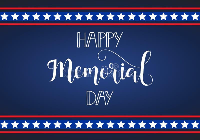 Cartão feliz de Memorial Day Feriado americano nacional Rotulação da mão Ilustração do vetor ilustração royalty free