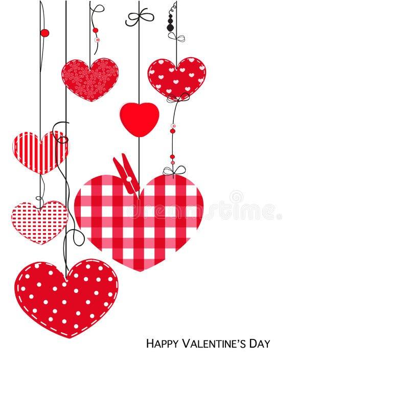Cartão feliz de Valentine Day com corações de suspensão do amor ilustração royalty free