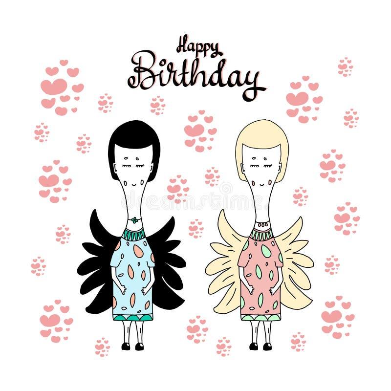 Cartão feliz do aniversário-cumprimento com os anjos feericamente bonitos das meninas brancos e pretos Corações e rotulação do fe ilustração royalty free