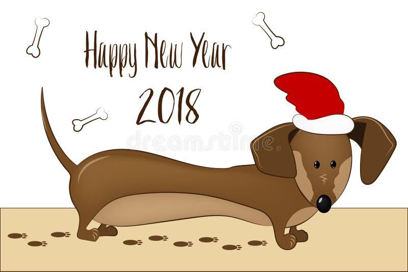 Cartão feliz do ano 2018 novo O cão engraçado do bassê felicita no feriado ilustração stock