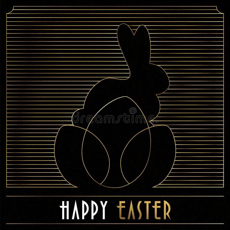 Cartão feliz do art deco do ouro da Páscoa do coelho e dos ovos ilustração stock