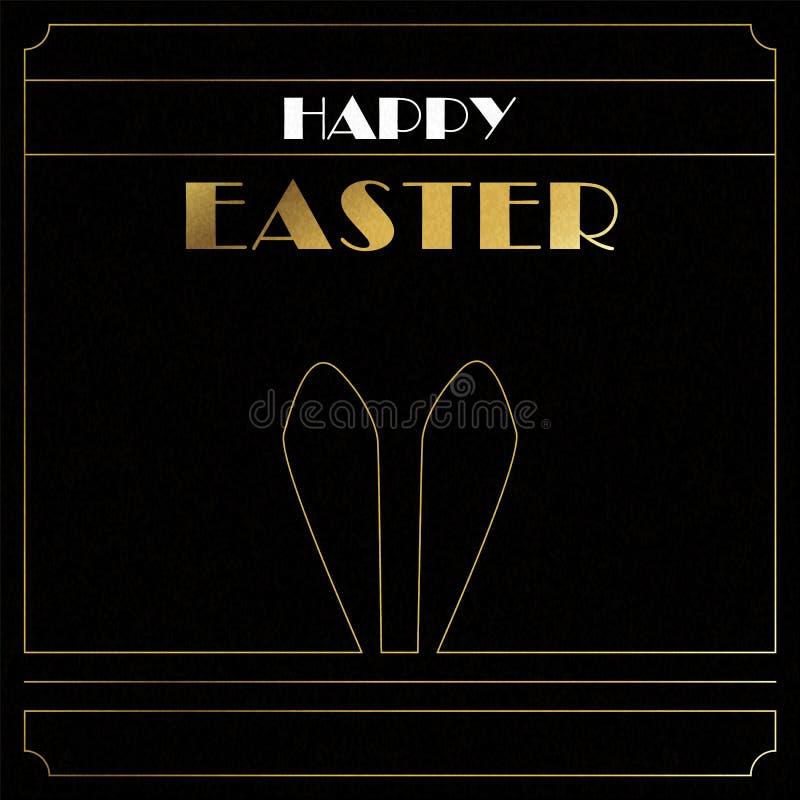 Cartão feliz do art deco do ouro da Páscoa das orelhas do coelho ilustração royalty free
