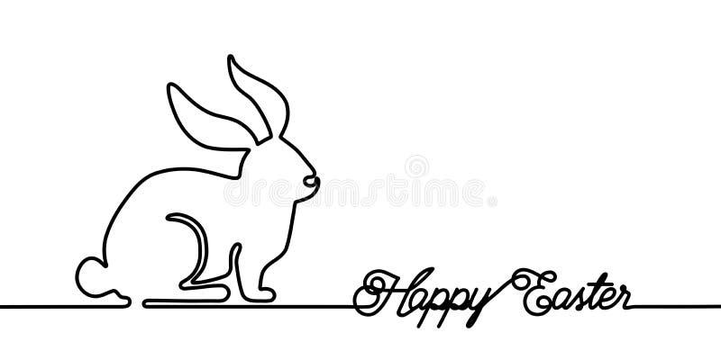 Cartão feliz do coelhinho da Páscoa na uma linha estilo simples com sinal da palavra da celebração do texto Copie o espaço Vetor  ilustração stock