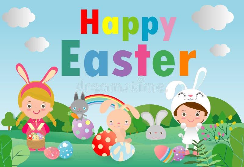 Cartão feliz do coelho do coelho da Páscoa no fundo do céu azul Molde da bandeira da Páscoa, ilustração do vetor dos ovos da pásc ilustração royalty free