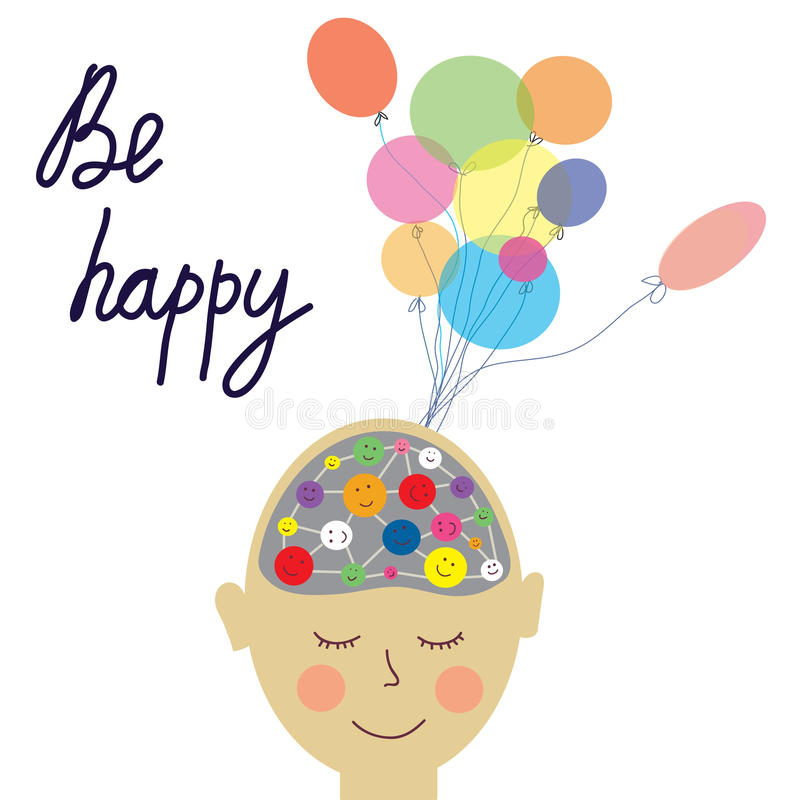 Cartão feliz do conceito da pessoa com cérebro ilustração do vetor