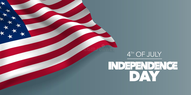 Cartão feliz do Dia da Independência de Estados Unidos da América, ilustração do vetor da bandeira ilustração royalty free