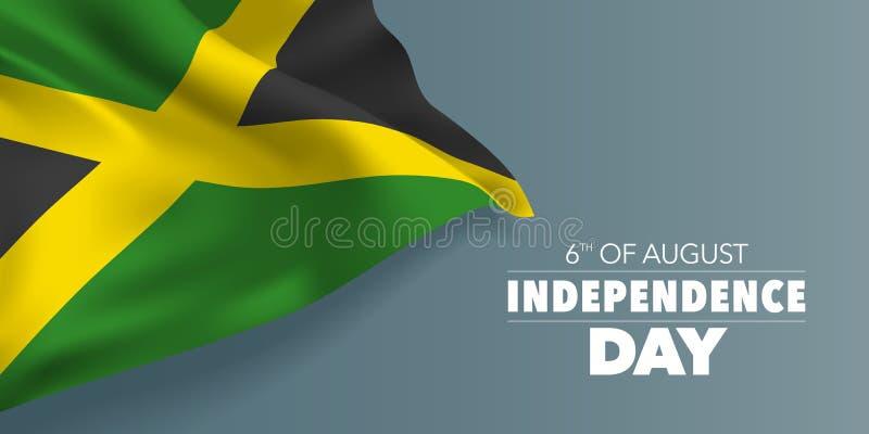 Cartão feliz do Dia da Independência de Jamaica, bandeira com ilustração do vetor do texto do molde ilustração royalty free