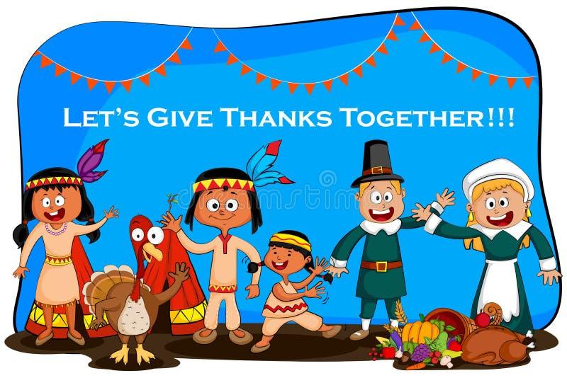 Cartão feliz do dia de ação de graças ilustração do vetor